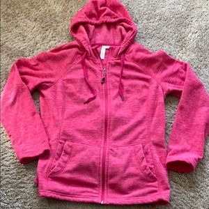 Pink fleece zipped sweatshirt